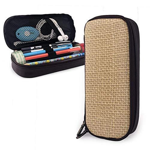 Trabajadores Rown personalizado arpillera rústica impresa bolsa de bolígrafo bolígrafo estuche de cuero para lápices bolso de bolígrafo simple para la universidad, material de oficina