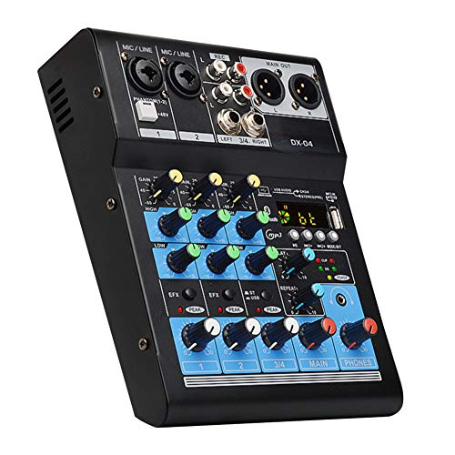YYWJ Audio Mixer 4-Kanal, Bluetooth Digital Stereo Mixer Soundboard Konsole, Unterstützung BT MP3 USB Eingang Live Soundkarte für Musik Aufnahme Live Broadcast, nicht null, blau, Free Size