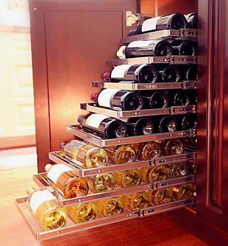 "Sliding Cellar Six Bottle In Cabinet Wine Rack, 22"" x 13.5"" x 0.75"", Accomodates All Bottles from 375 ml. to 750 ml. Wide Champagnes"