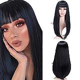 YMHPRIDE 20 pulgadas pelucas largas y rectas de Bob negro con flequillo para mujeres Disfraz de niñas Ropa diaria Peluca sintética