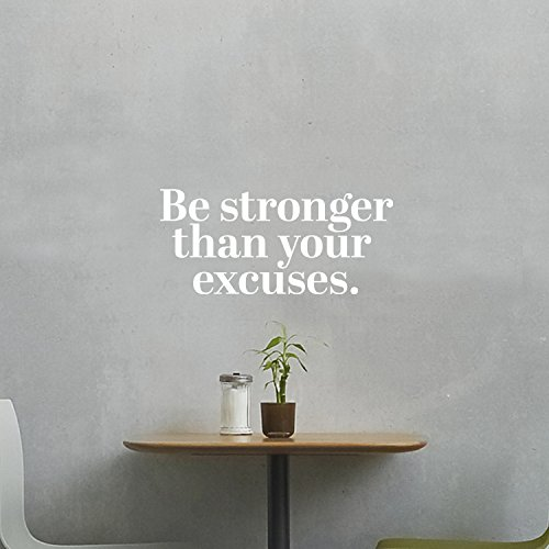 Pulse Vinyl Vinilo Adhesivo Decorativo para Pared, diseño con Texto en inglés Be Stronger Than Your Excuses, 35,5 x 78,7 cm
