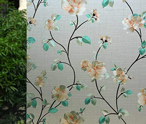 "VSUDO 1 or 2 Rolls 35.4"" by 78.7"" Privacy Window Film, Jasmine Flower Pattern Window Tint for Home, Static Cling Window Glass Sticker(Blind Box Sell Mode, Most of Them are 2 Rolls)"