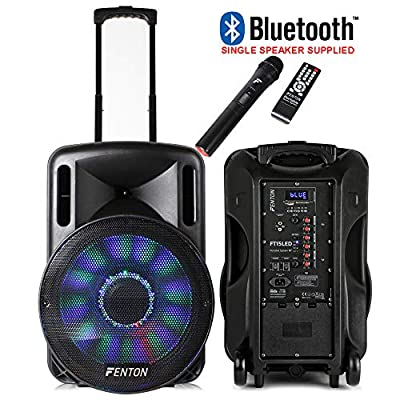 "Fenton Portable DJ PA Speaker System 15"" 800w Bluetooth Music Lights and Wireless Microphone Battery Powered by Tronios BV"