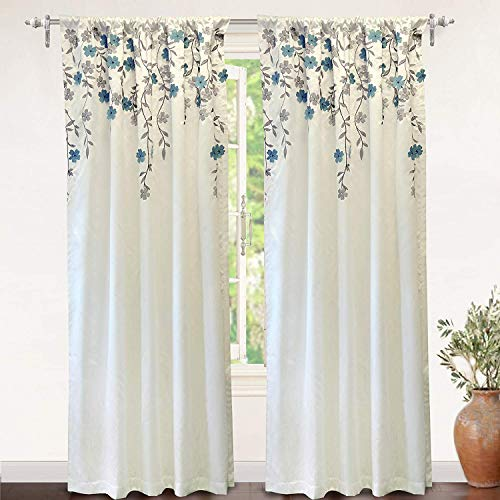 DriftAway Isabella Faux Silk Embroidered Window Curtain Embroidered Crafted Flower Lined with Thermal Fabric Single Panel 50 Inch by 96 Inch Ivory Blue