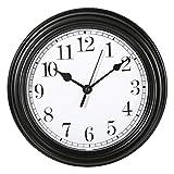 ootb Wanduhr Küchenuhr Uhr Nostalgie Landhaus antik Classic Büro 22 cm Rund (Schwarz)