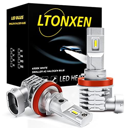 H11/H8/H9/H16 LED 6500K Frío Blanca Luz del Coche y Moto Faros Brillante Bombillas para el Conversión de la Original DC 9V-32V Luces Alto y Bajo o Niebla Luz Diurna DRL Lámparas de Kit.(2 piezas)