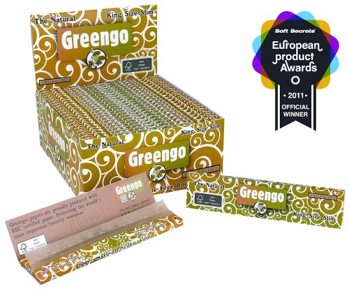 Greengo Unbleached King Size Slim Rolling Paper - 10 packs