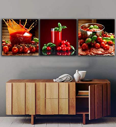 Wenjing 3 panelen tomaten sap schilderijen voor de keuken fruit wanddecoratie moderne afbeeldingen op canvas voor de woonkamer 30 x 30 cm x 3 stuks geen lijst