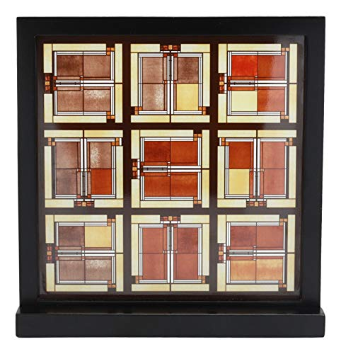 """Ebros Frank Lloyd Wright Unity Temple Skylight Oak Park Stained Glass Art with Wooden Base Desktop Plaque 10"""" H X 10"""" W Decorative Accessory"""