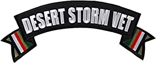 Hot Leathers, DESERT STORM VET MILITARY Banner, Iron-On / Saw-On Rayon PATCH - 4