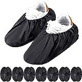 8 Paires Couvre-Chaussures Réutilisables Antidérapants Couvre-Bottes Imperméables pour Protection de Tapis de Ménage Machine Lavable (Noir)