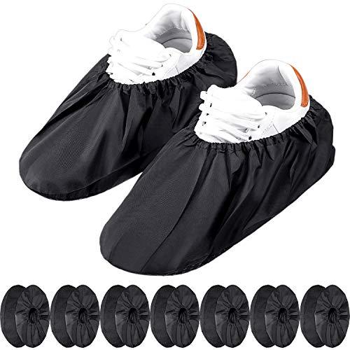 8 Paare Rutschfeste Wiederverwendbare Schuh Abdeckungen Schuhüberzüge Wasserdicht Stiefel Abdeckungen für Haushalt Teppich Boden Schutz Maschinen Waschbar (Schwarz)