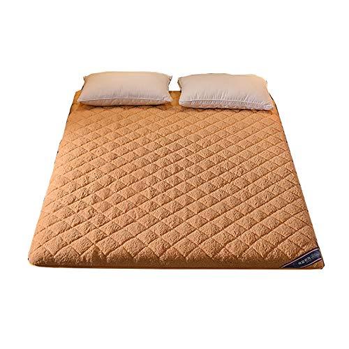 Japanischer Tatami Boden Matratze, Patchwork-Muster ausgestattet Matratzenauflage faltbare Haltbare weiche Matratze Topper Sofa Matratze Pad ausgestattet Matratze Pad Dorm Schlafzimmer,Camel,180*200cm