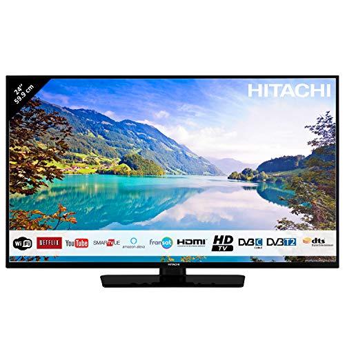 "Hitachi Téléviseur LED 24"" 59,9cm HD avec Alexa/Smart TV: Netflix, Youtube, Prime / 2 HDMI/FRANSAT/USB/WiFi"