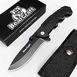 Couteau pliant BearCraft en noir mat avec ** eBook GRATUIT * | Couteau de poche Sharp...