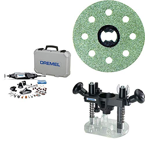 Dremel Variable Speed Rotary Tool Kit - Engraver, Polisher, and Sander And Plunge Router Attachment with Lock Diamond Wheel