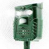 LONGCHANGWEN Animal Repellent Solar Battery Waterproof Repeller with 4 Speakers & 2 Flashing