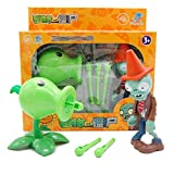 Plants PVC Toys Zombies Ejection Toy Gift Box,Halloween Toys For Kids,Desktop games Party game,Peashooter And Zombies,2 pieces