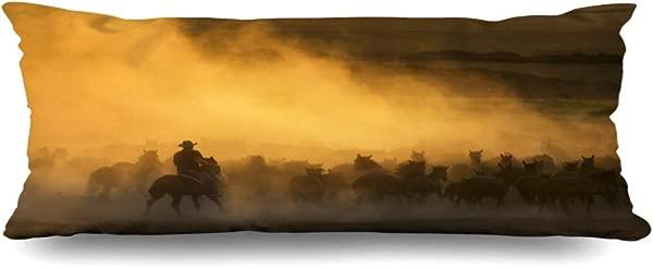 Ahawoso Zippered Body Pillow Cover 20x54 Inches Brown Desert Western Cowboys Riding Horses Roping Wild Run Animals Wildlife Dust Dusk Herding Beauty Decorative Cushion Case Home Decor Pillowcase