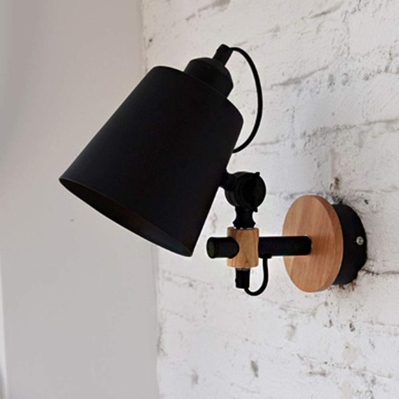 Einstellbare Vintage Eisen Nachttischlampe Schlafzimmer Kinderzimmer Nachtlicht Treppenhaus Gang Küche Wandleuchte (Schwarz - Mit Schalter)