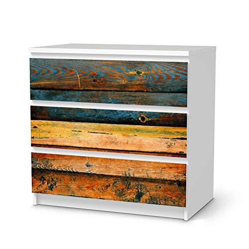 creatisto Möbeltattoo passend für IKEA Malm Kommode 3 Schubladen I Möbelaufkleber - Möbel-Folie Tattoo Sticker I Wohn Deko Ideen für Esszimmer, Wohnzimmer - Design: Wooden