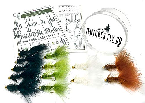 Ventures Fly Co. | Baker's Dozen Pack | 13 Premium Hand-Tied Wooly Bugger Fly Fishing Flies | Water-Proof Fly Cup Included | Streamers Perfect for Trout, Bass, Panfish, Bluegill, and More!