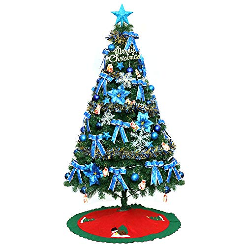 MIMI KING Arbre De Noël Artificiel De 8,8 Ft 1700 Bouts avec La Jupe Rouge d'arbre, Ornements Respectueux De l'environnement, Lumières Colorées De Corde Et Stand en Métal,Blue
