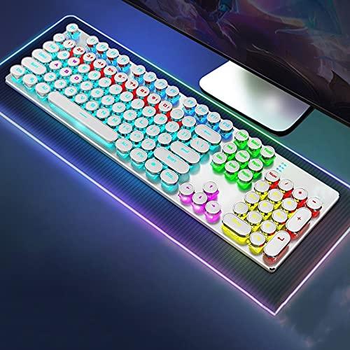 YQX Teclado Mecánico Retro para Máquina De Escribir, Retroiluminación LED RGB, Panel Superior De Metal, 104 Teclas,Blanco