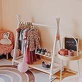 Estante de ropa estilo tipi con almacenamiento, decoración de habitación de niños, estante de ropa para niños, estante de ropa de madera (blanco)