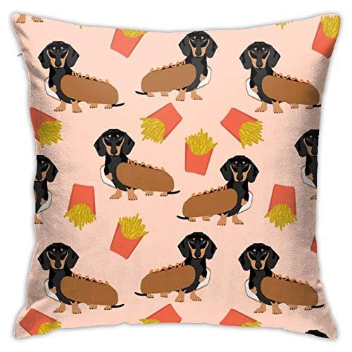 Doxie Dachshund Winer Dog Hot Dog y papas fritas disfraz lindo cojn decorativo suave funda de almohada cuadrada algodn lino fundas de almohada blanco 45,7 x 45,7 cm