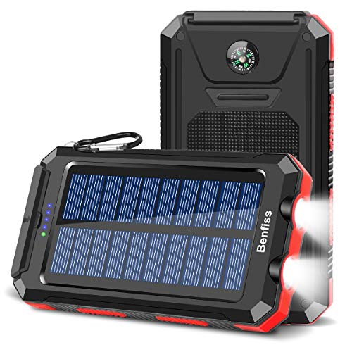 Solar Charger 20000mAh, BENFISS Ultra-Portable Durable Solar Power Bank with 2 USB Output 2 LED...