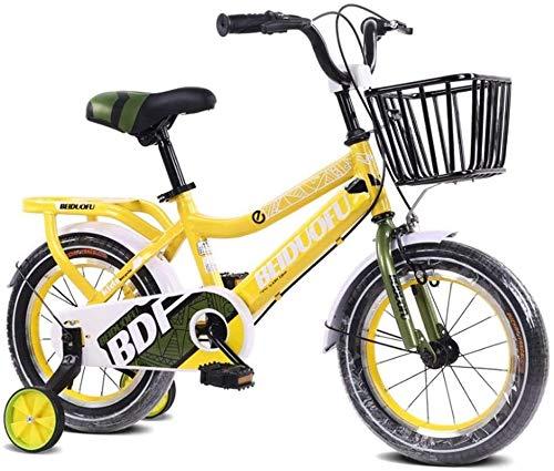 DXYSS Bicicleta para Niños y Niñas Bicicleta BMX Freestyle de Skid Boy con Ruedas de Entrenamiento, de 16 Pulgadas, Llantas, Color: Naranja (Color : Yellow, Size : 12inch)
