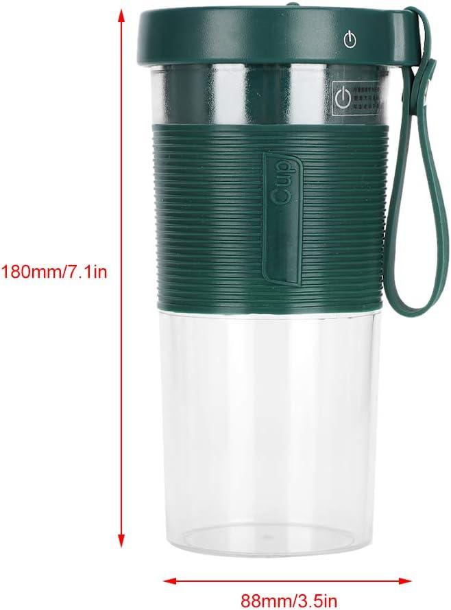 SunshineFace Taza de Jugo de Fruta Eléctrica Portátil Mezclador de Exprimidor de Cabeza de Cortador de Tres Hojas de 320 Ml 2000 Mah para Viajar a Casa Usb Recargable Verde