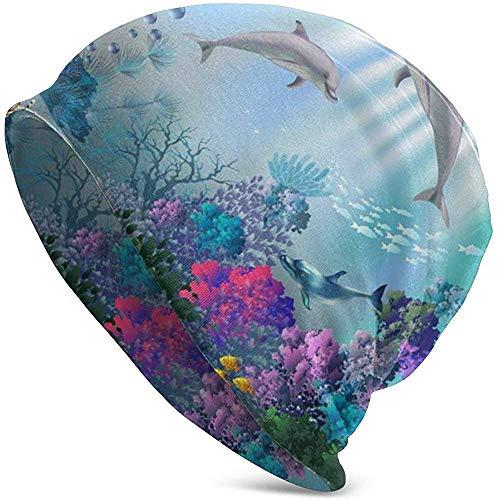 GodYo dolfijn oceaan vis-onderwater strik koraal slouy manchet schedel gebreide muts wintermuts warm skihoed snapback zwart