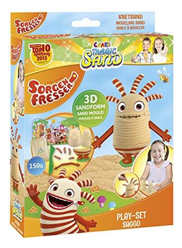 CRAZE 57071 MAGIC SAND Kinetischer Spielsand Sorgenfresser Saggo Set Playset inkl. Förmchen,150 g