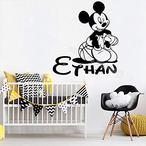 TYLPK Etiqueta de la pared del baloncesto de Mickey Mouse Nombre ...