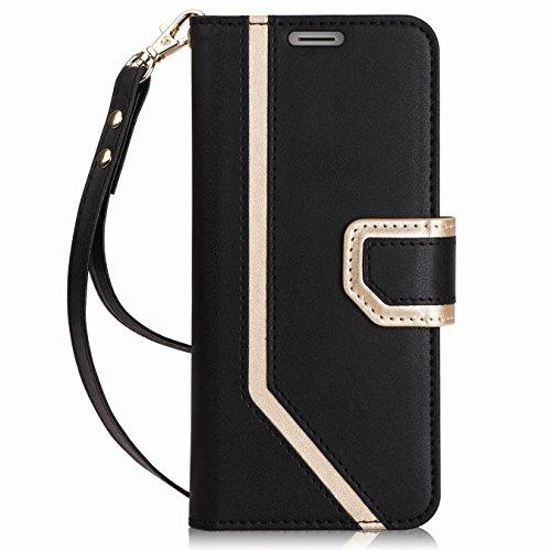 FYY Für Samsung Galaxy S9 Hülle,Samsung S9 Tasche Leder Brieftasche Hülle mit Eingebautem Spiegel mit Ständer-Funktion und [Information Anti-Leckage Schutztechnik] Galaxy S9 Handyhülle,Schwarz