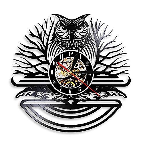 Eld 30 cm Adorno de búho Disco de Vinilo Reloj Negro Reloj Pared de pájaro Abstracto Lámpara de Pared de cabecera Oferta Regalo para búhos Obsesivos Moda Música Moderna Arte Registro Relojes de Pared