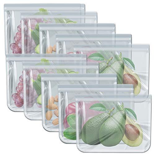 Paquete de 10 bolsas reutilizables para congelador, a prueba de fugas, bolsas de almacenamiento de alimentos para verduras, sándwich, aperitivos, carne, almuerzo, sopa y salsa, 10.2 x 7.87 pulgadas