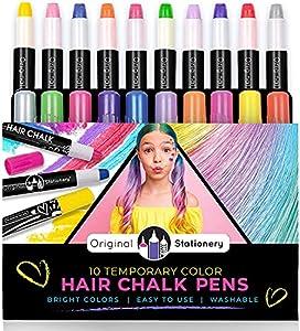 Original Stationery Tizas para el pelo x10 Set de Tizas de Color Lavables - Colores Metálicos de Hair Chalk for Girls Regalos de Cumpleaños para Niñas de 3 a 12 años