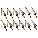 PG1ARCHERY 12 Pack 3 Fixed Blade Archery Hunting Broadheads 100 Grain with Case Arrow Head Screw-in...