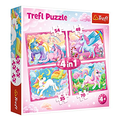 Trefl, Puzzle, Die magische Welt der Einhörner, von 35 bis 70 Teilen, 4 Sets, für Kinder ab 4 Jahren