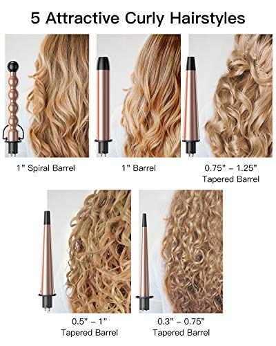 BESTOPE Hair Curler, Pro 5-In-1 Curling Iron and Curling Wand Set Hair Waver With 5 Interchangeable Ceramic Tourmaline Barrels& Heat Resistant Glove, Dual Voltage, Cool Tips for All Curls& Waves (Rose Gold).
