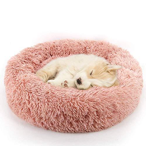 Sunshine smile Haustierbett Rundes Plüsch für Katzen und Hunde,hundebett in Doughnut-Form,plüsch hundesofa katzensofa,katzenbett plüsch,(50cm*50cm) (Pink)