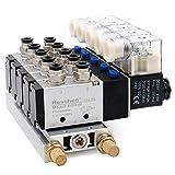 Heschen Electroválvula neumática de 5 solenoide 4V210-08 DC 24V PT1/4 5 vías 2 posiciones de silenciador de base de colector de silenciador rápido conjunto