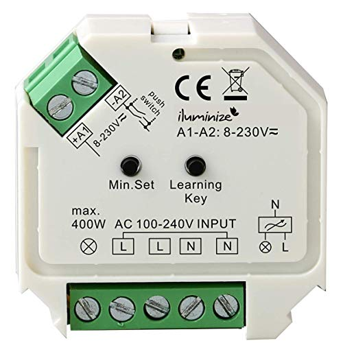iluminize Funk Dimm-Aktor Mini, 1 x 230V, 200W / 400W, dimmen per Funk mit iluminize Hand-Fernbedienung, Wand-Dimmer, Desk-Dimmer oder WiFi-Bridge, WICHTIG: nicht Zigbee 3.0 kompatibel (Dimm-Aktor)