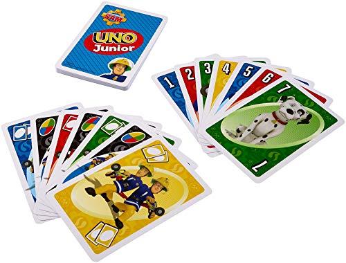 Mattel Games FMW18 UNO Junior Feuerwehrmann Sam Kartenspiel für Kinder, geeignet für 2 - 10 Spieler, Spieldauer ca. 15 Minuten, ab 3 Jahren