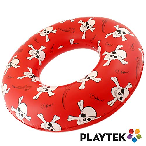 Playtek Giant Pool Float Ring, Large Round Pirate Swim Tube, Durable Floats for Swimming on Beach, Pool, Water Sports