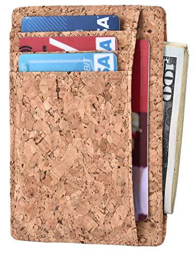 Kinzd Cork Fabric Vegan Wallet Slim Wallet For Women Minimalist Wallet For Men Best Front Pocket Wallet Small Credit Card Holder Protector Rfid Blocking Minimal Thin