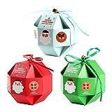Cajas de Dulces Navideños 12 Piezas Cajas de Dulces Navideñas Cajas Presentes Cajas de Regalo de Favor de Fiesta de Bricolaje para Dulces de Cupcake de Navidad Bolsa de Favor de Fiesta de Niños (A)